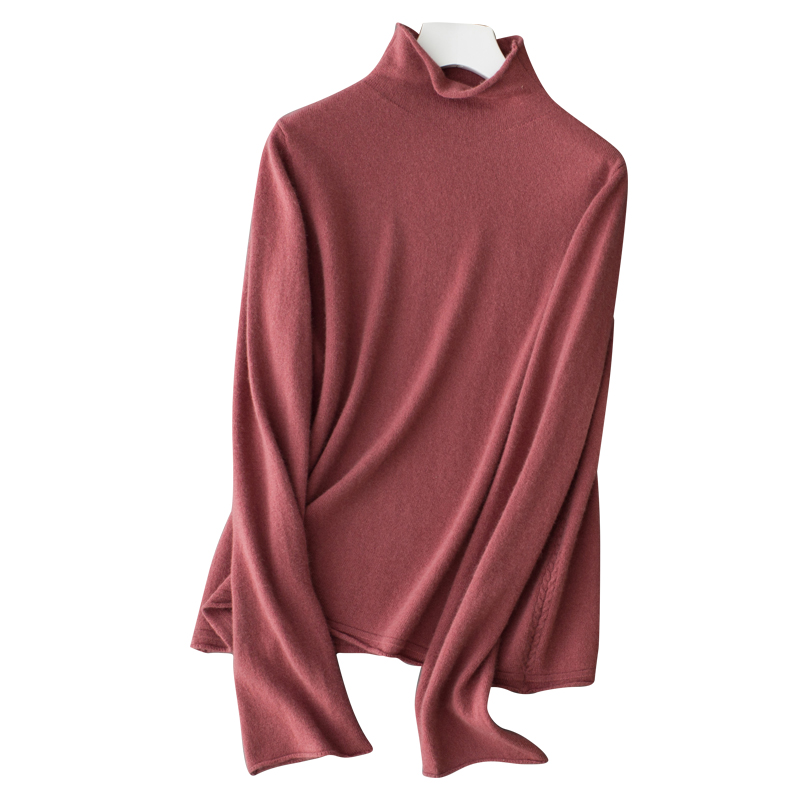 Hot sale Womens Half Turtleneck flare sleeve 100 Cashmere Sweater Jumper pure color Soft Pullovers Famale
