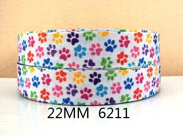 """7/8 """"(22 מ""""מ) כלב חתול באיכות גבוהה מודפס סרט פוליאסטר 5 מטר, חומרים בעבודת יד diy, מתנת חתונה לעטוף, 5yc1669"""