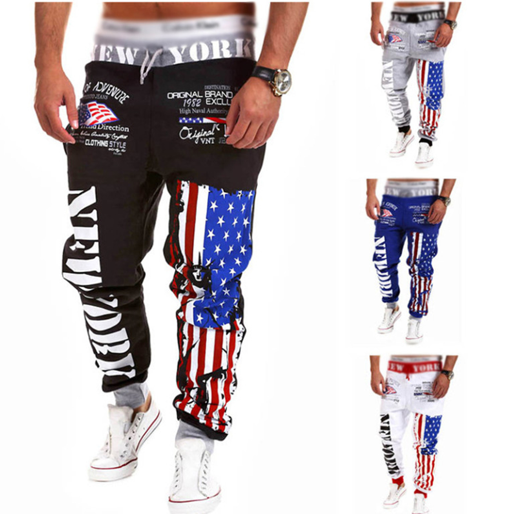 Men\'s Casual US Flag Jogger Street Dance Pants Bag...