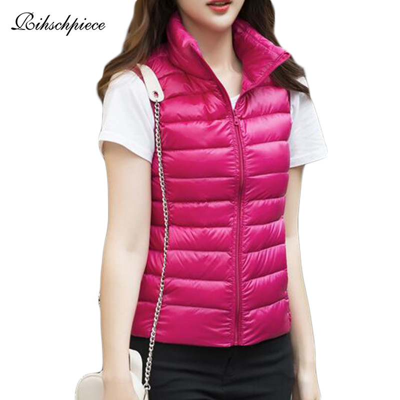 Rihschpiece 2018 Plus Size 3XL Ultra Light Duck   Down   Jackets Womens Spring Vest Puffer   Coat   Thin Waistcoat Winter Tank RZF1464