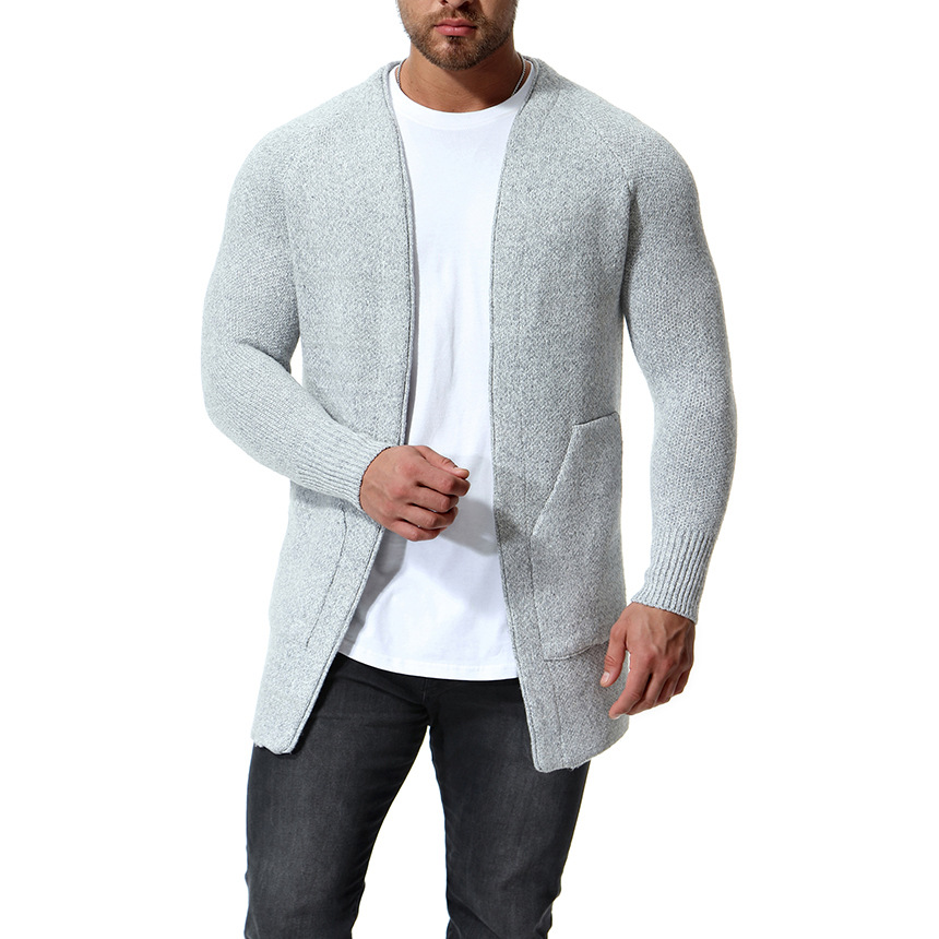 Sweater Men Long-Cardigan Knitting Male Casual Winter Cotton New White Black for Nice