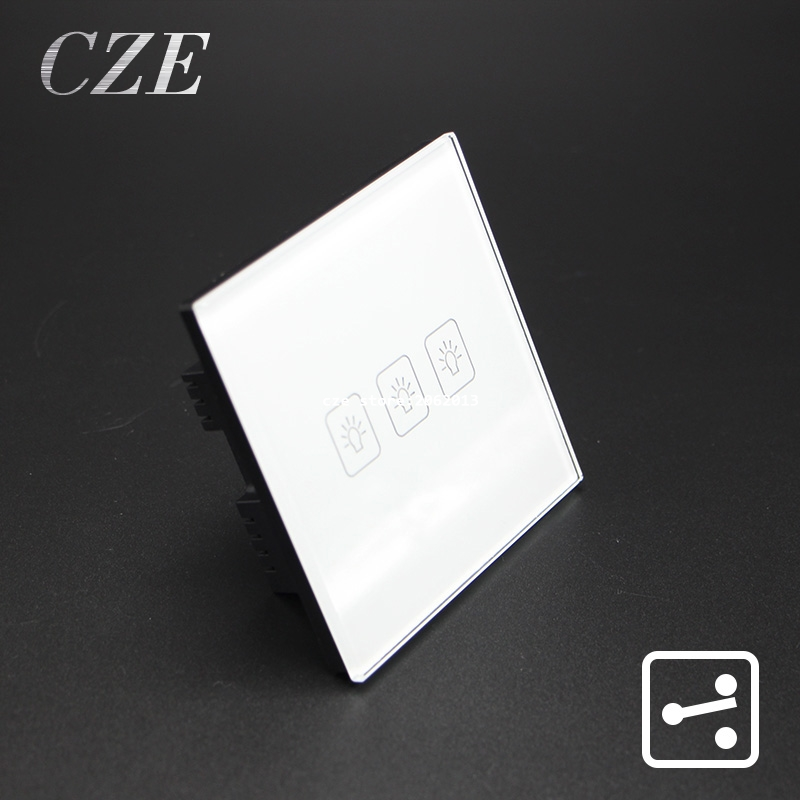 UK Standard 3 Gangs 2 Way Touch Switch Light Controller Smart Home Automation  AC220V/110V   Wall uk standard smart home 3 gang1 way light switch with remote controller crystal tempered glass panel wall touch ac220v
