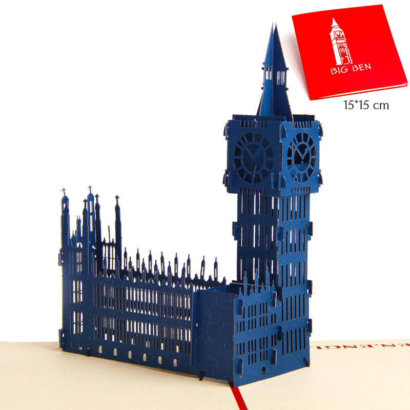 Dependable Big Ben Handmade Creative Kirigami & Origami 3d Pop Up Travelling Greeting Gift Cards Free Shipping 6a0773 To Have A Unique National Style Festive & Party Supplies Home & Garden