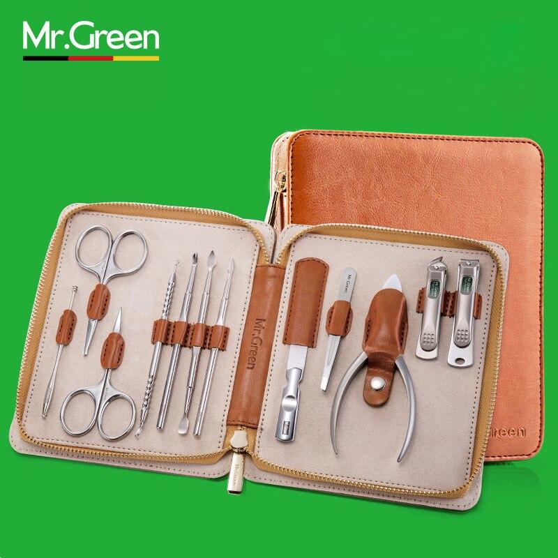 MR. зеленый 12 in1 маникюрный набор из нержавеющей кусачки для ногтей, кутикул утилита маникюрный набор инструментов Nail Clipper Уход за лошадьми ко...