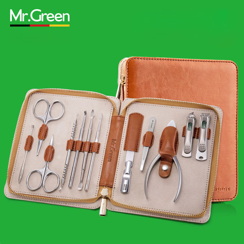 MR.GREEN 12 in1 Manicure Set Stainless Nail Clippers Cuticle Utility Manicure Set Tools Nail Clipper Grooming Kit Nail Care Set 12 pcs mini pedicure manicure set nail cuticle clippers cleaner grooming case tool beauty care set stainless steel tool