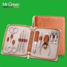 MR. зеленый 12 in1 маникюрный набор из нержавеющей кусачки для ногтей, кутикул утилита маникюрный набор инструментов Nail Clipper Уход за лошадьми комплект набор по уходу за ногтями