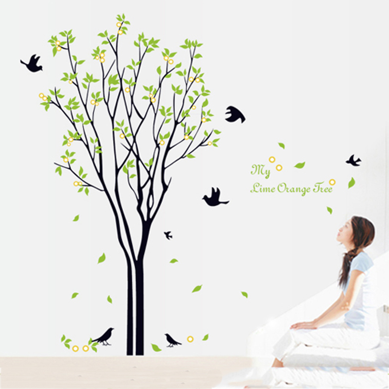 Living room birds green wall sticker tree self adhesive home decor bedroom family tree w ...