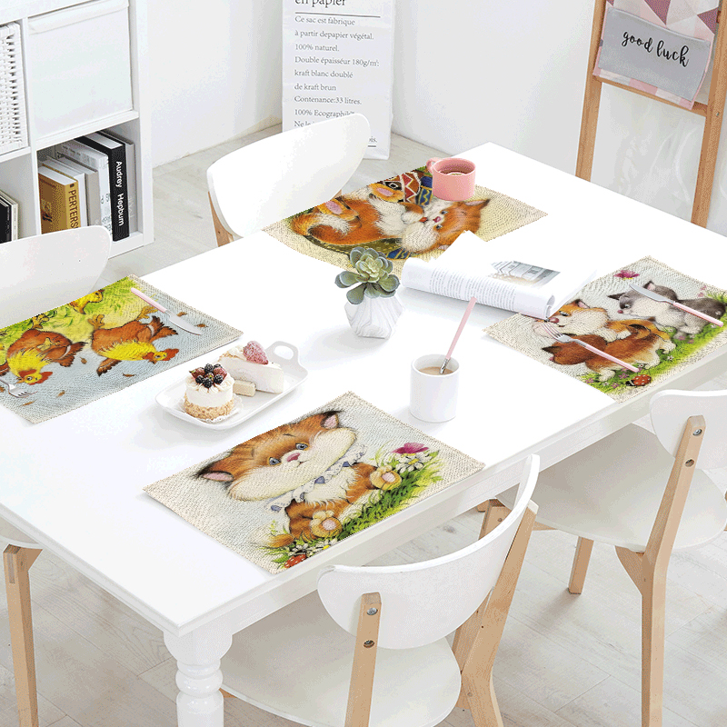Cartoon Dogs Table Napkins Different Pretty Butterfly Dinner Table Napkins Tea Coffee Towel Restaurant Plates Decoration 42*32cm