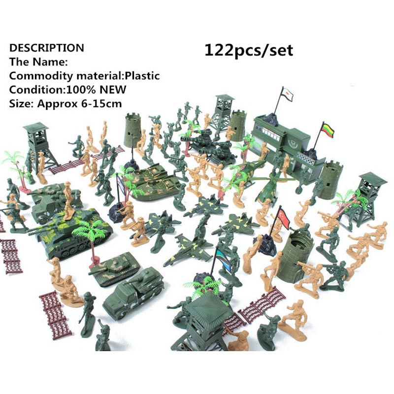 122本/セット兵士モデルキットヘリコプター、戦車、軍用ボートの訓練基地軍事戦闘シーン子供たちに最高の贈り物を送る