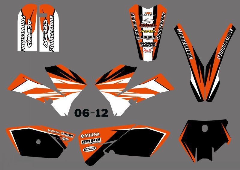 H2CNC Graphics & Background Decal Sticker Kits For KTM 85 SX 85SX 2006 2007 2008 2009 2010 2011 2012