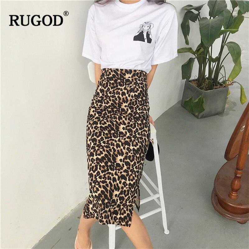 RUGOD Korean Sexy Leopard Print Long Skirt Women 2019 Autumn Fashion High Elastic Waist Pencil Skirt Saia Faldas Mujer Befree
