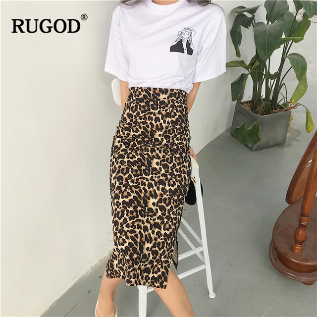 RUGOD Korean Sexy Leopard Print Long Skirt Women 2020 Autumn Fashion High Elastic Waist Pencil Skirt Snake Print Skirt for Lady