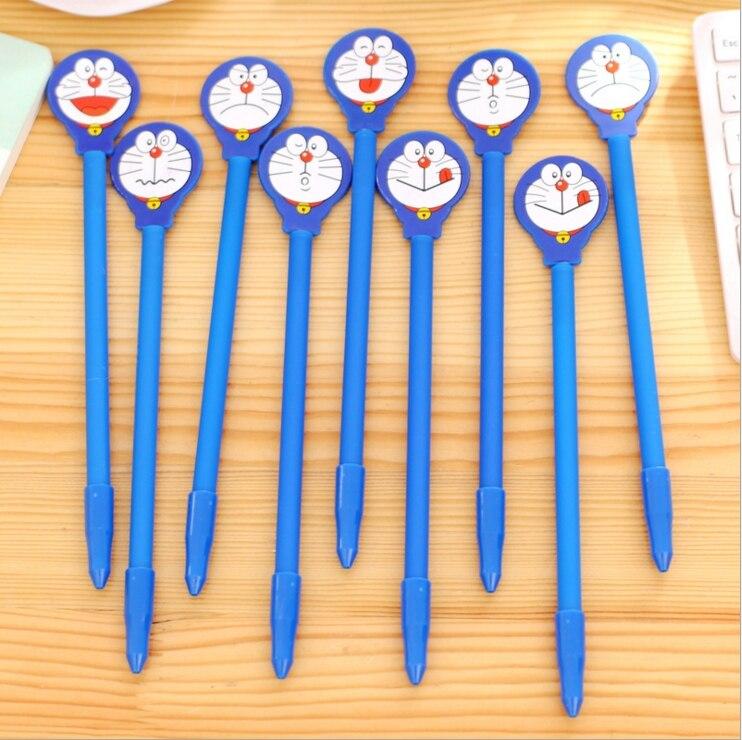2Pcs/Lot Lovely New Novelty Cartoon Doraemon With Mirror Gel Pen Ink Marker Pen School Office Supply Gift Pen E0617
