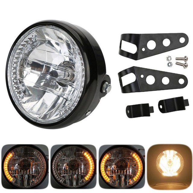 """Amber LED Round 7"""" Motorcycle Headlight With Turn Signal For Harley Chopper Cafe Racer Bobber With Bracket"""