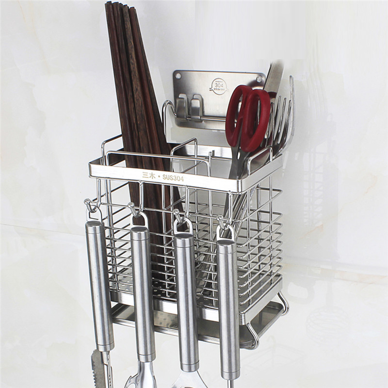 Stainless Steel Wall Mounted Kitchen Racks Chopsticks Cage Tube Storage Box Drain Rack Kitchen Utensils Cutlery Drainer Holder
