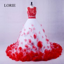 Luxury Two Piece Prom Dress 2019 LORIE White And Red Girls Graduation Party Dresses Flowers Vintage Lace Evening Gowns Dresses