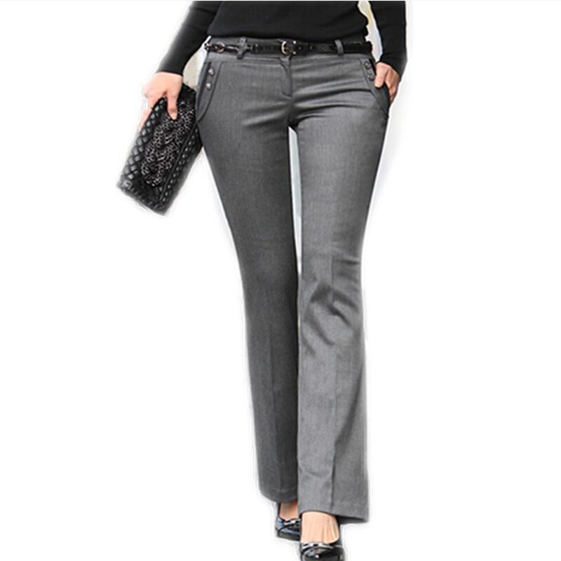 767d92b92d86 New 2018 Spring Summer Women s Straight Suit Pants Mid-Waist Grey Pants  Work Wear Plus