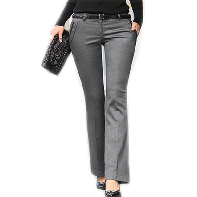 New 2018 Spring Summer Women\'s Straight Suit Pants Mid Waist Grey ...