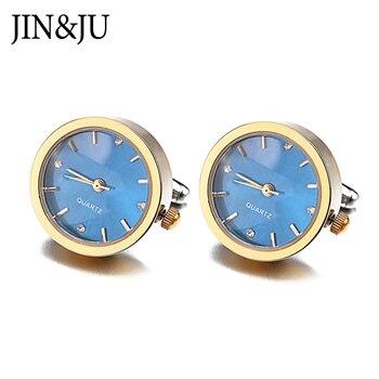 JIN&JU Men Jewelry New Arrive Men's Shirt Clock Design Jewelry Watch Cuff Link  Men Jewelry Wedding Groom Men Cuff Links