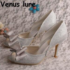 Epacket/Прямая поставка; Модель 4311002 года; Серебристая обувь с блестками; Женские туфли-лодочки с открытым носком и бантом на высоком каблуке