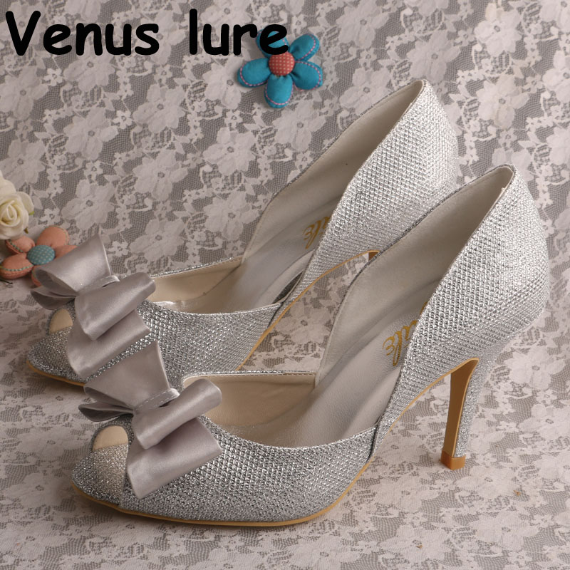 44a8ae24f3c4 Epacket Dropship 4311002 Silver Glitter Shoes Women Peep Toe Bow Pumps with  High Heel