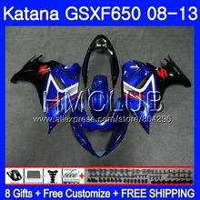 Комплект для SUZUKI KATANA GSXF 650 650F GSX650F 08 09 10 11 12 13 24HM. 10 GSXF650 2008 2009 2010 2011 2012 2013 Новый Синий обтекателя