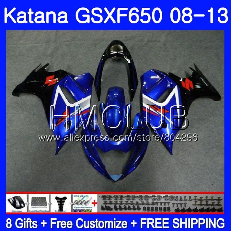 Kit Per SUZUKI KATANA GSXF 650 650F GSX650F 08 09 10 11 12 13 24HM. 10 GSXF650 2008 2009 2010 2011 2012 2013 Nuovo blu carena