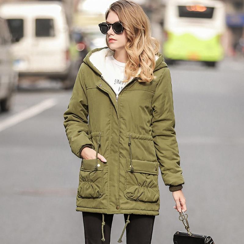 Fashion Faux Fur Coat Girls Green Jacket Winter Female Slim Long Warm Overcoat Ladies Hooded Cotton Large Size   Parka   Femme Women
