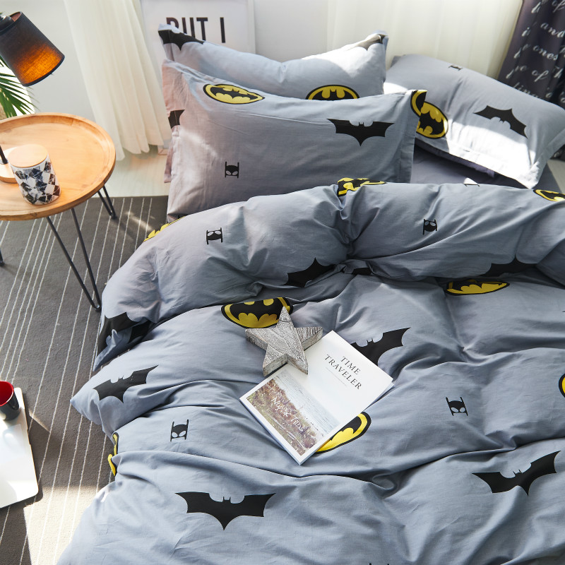 100% coton housses de couette ensemble 4 pièces Batman ensemble de literie, Double simple housse de couette king size, literie haute densité #237