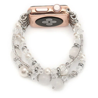 Crystal White Pink Agate Women S Watch Band For 38 42mm Apple Watch Iwatch Belt Replacement