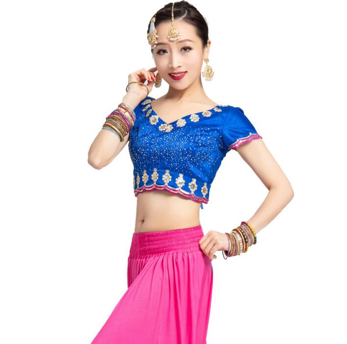 India Sarees Traditional Children Bellydance Costume Performance Cotton Short Top