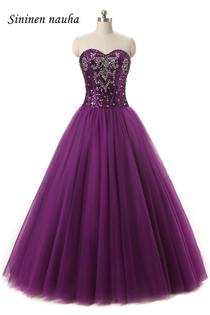 254c146c387 Purple Cheap Quinceanera Dresses Long Prom Party Dress Sweetheart Crystals A  Line Tulle Vestidos De 15