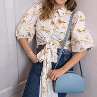 Women Shirt 2019 Spring and Summer New Retro High Waist Three dimensional Puff Sleeve Gold Horse Shirt