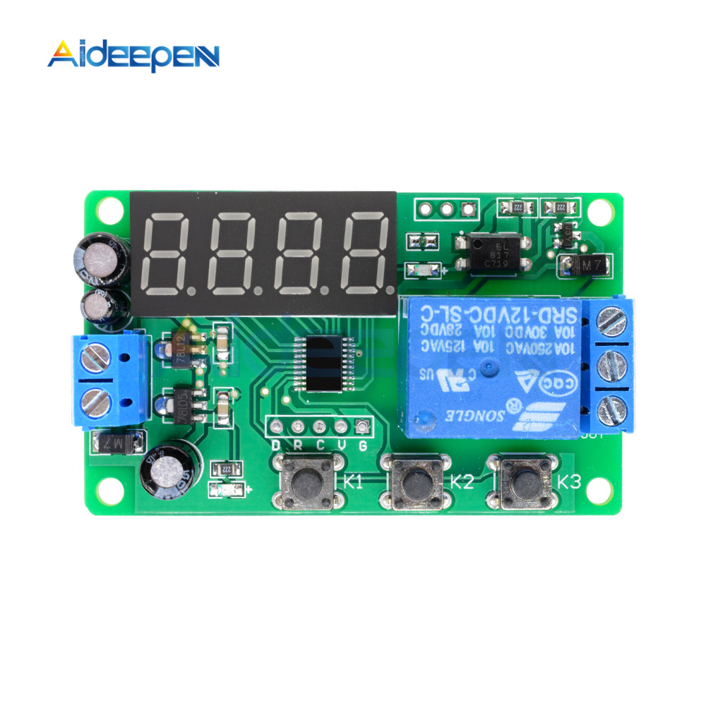 DC12V Time Delay Relay LED Digital Automation Trigger Timer Control Cycle Adjustable On Off Switch Module
