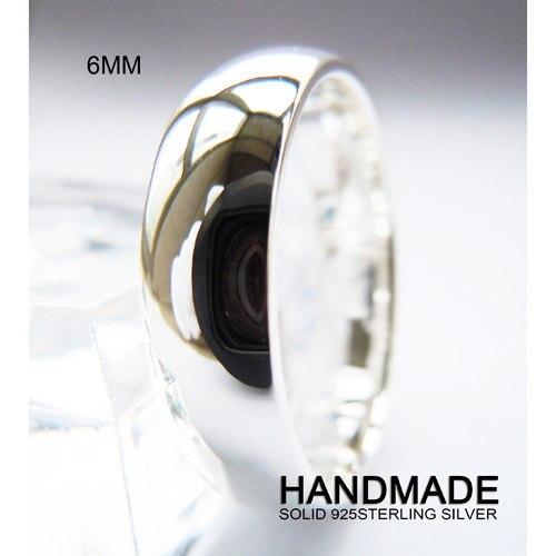 Sólido 925 Plata de ley 6mm hombres anillo de banda simple-in Anillos from Joyería y accesorios    1