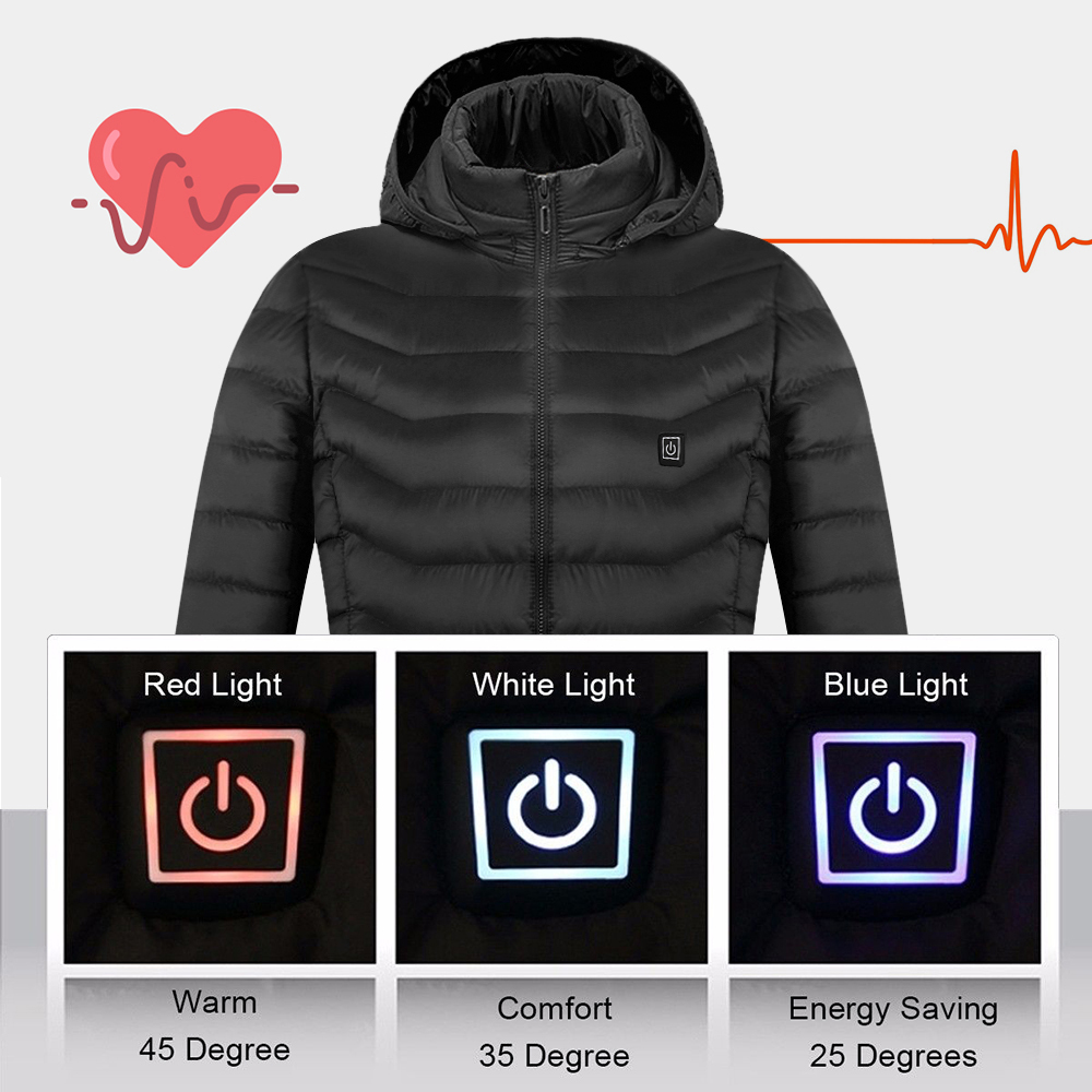 Mens Women Heated outdoor vest Coat USB Electric Battery Long Sleeves Heating Hooded Jacket Warm winter Thermal Clothing Skiing