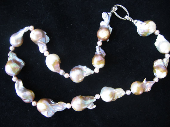 Gorgeous Extra Large Nucleated Baroque Purple Gold Freshwater Pearl Necklace