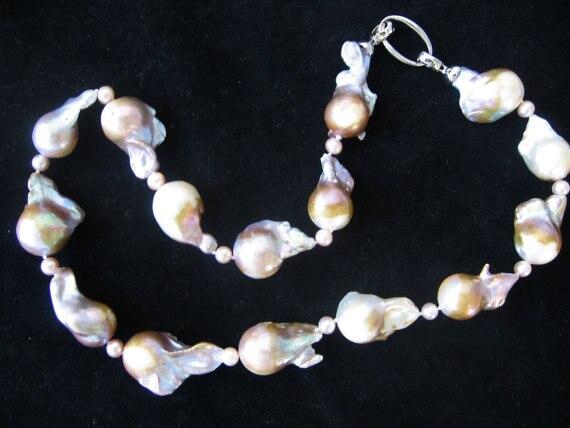 Magnifique Extra Large Nucléées Baroque Or Pourpre D'eau Douce Collier de Perles