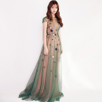 European Runway Dress Women High Quality Elegant O neck Green Mesh Embroidery Long Party Dresses 2019 Summer vestido longo