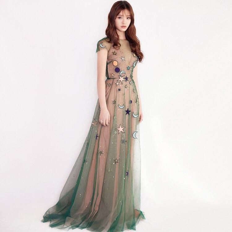 European Runway Dress Women High Quality Elegant O neck Green Mesh Embroidery Long Party Dresses 2019 Summer vestido longo