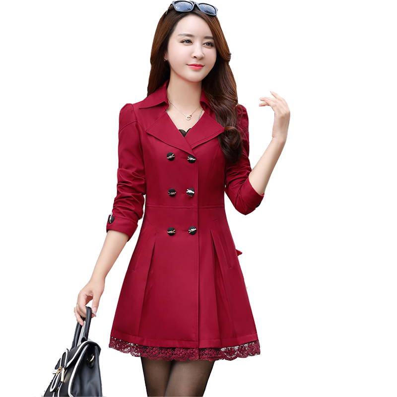 2017 Fashion Plus Size Lace Women Trench Coat Slim Double-Breasted Trench Coats Female Casual Windbreaker Outwear Casaco Femin