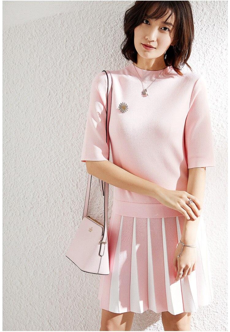 PIXY Summer Pink Knitted Fringe Dress Mid Dresses Short Sleeve Navy Blue Turtleneck Bodycon Sun Ice Silk za sukienka Cute