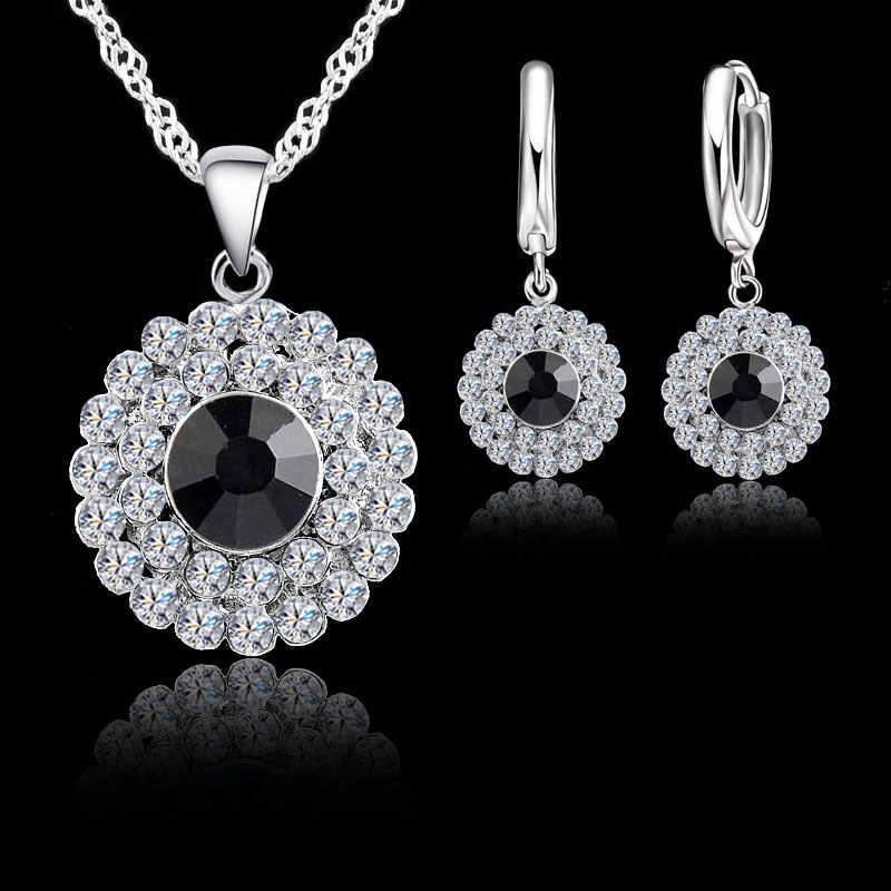 e7fe307b9 ... JEXXI Women 925 Sterling Silver Bridal Wedding Jewelry Sets Sparkling  Cubic Zirconia Pendant Necklace Earrings Set