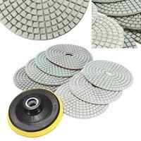 8pcs 4 Inch Diamond Polishing Pads Wet Dry Set Backer Pad For Granite Concrete Marble Stone