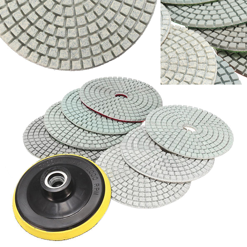 8pcs 4 inch Diamond Polishing Pads Wet/Dry Set & Backer Pad for Granite Concrete Marble Stone Slate Grinding Mayitr