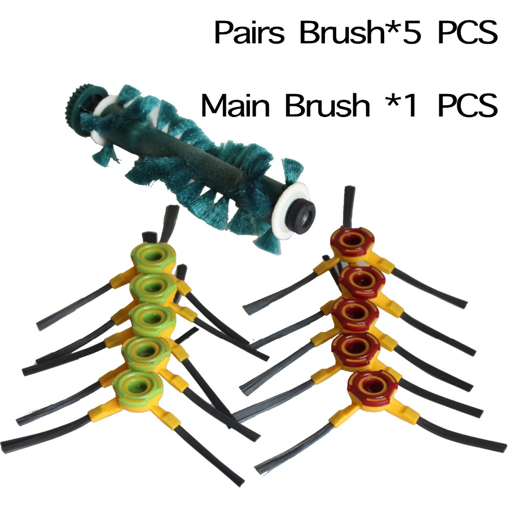 5pairs /LOT Replacement side brush and 1 Agitator Brush for Ecovacs Deebot Deepoo D73 D76 side brush enkei sh55 7 5x18 5x114 3 d73 1 et42 bkf
