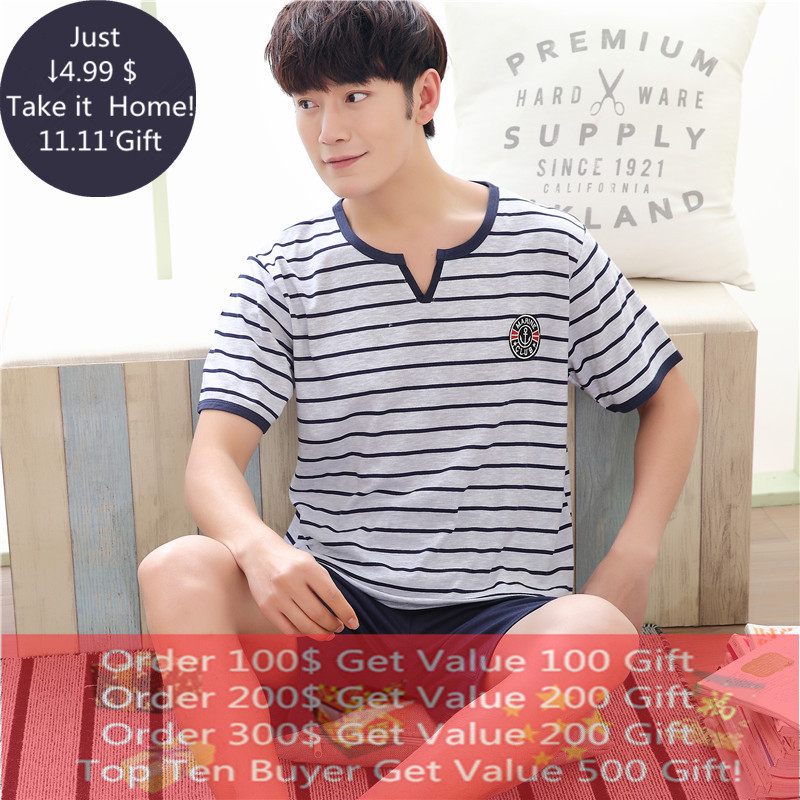 Underwear & Sleepwears Summer Simple Short Pyjamas Men 100% Cotton Sleeveless Man Pajama Sets Shorts Letter Printing Sleepwear Male Homewear Set