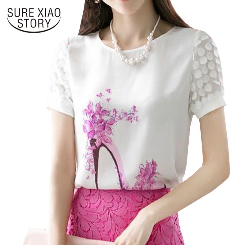 2018 new spring summer Women Fashion print Short Sleeve Diamonds   Blouses     Shirts   Casual Chiffon Flower Blusas 89J 30