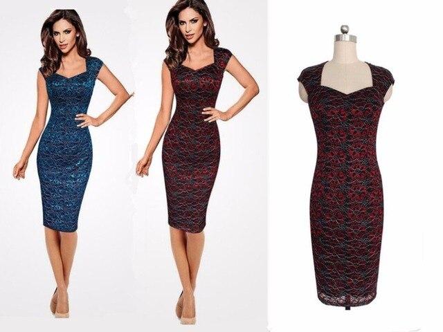 54dc1d63429 Новая дамская мода красивый цветочный узор Slim Fit Тощий Кружево Платье  Футляр Новый год платье