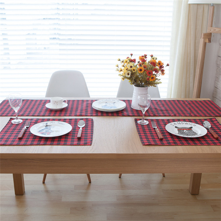 Red Plaid Wedding Table Runner Decoration Linen Cotton ...
